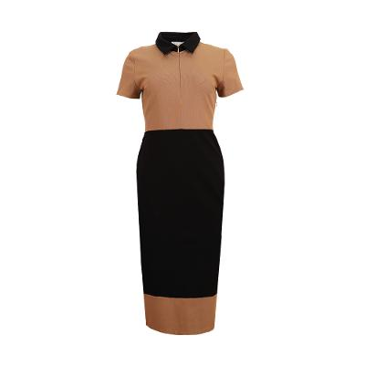 colour block midi dress brown